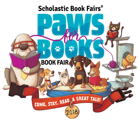scholastic book fair paws for books logo, cartoon cats and dogs reading books
