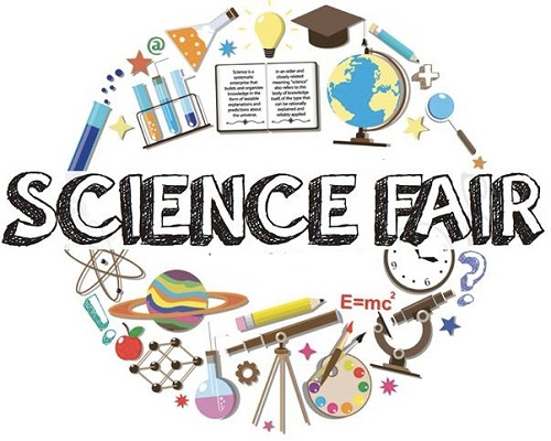 science fair clip art with the words science fair surrounded by images of chemistry and physics tools