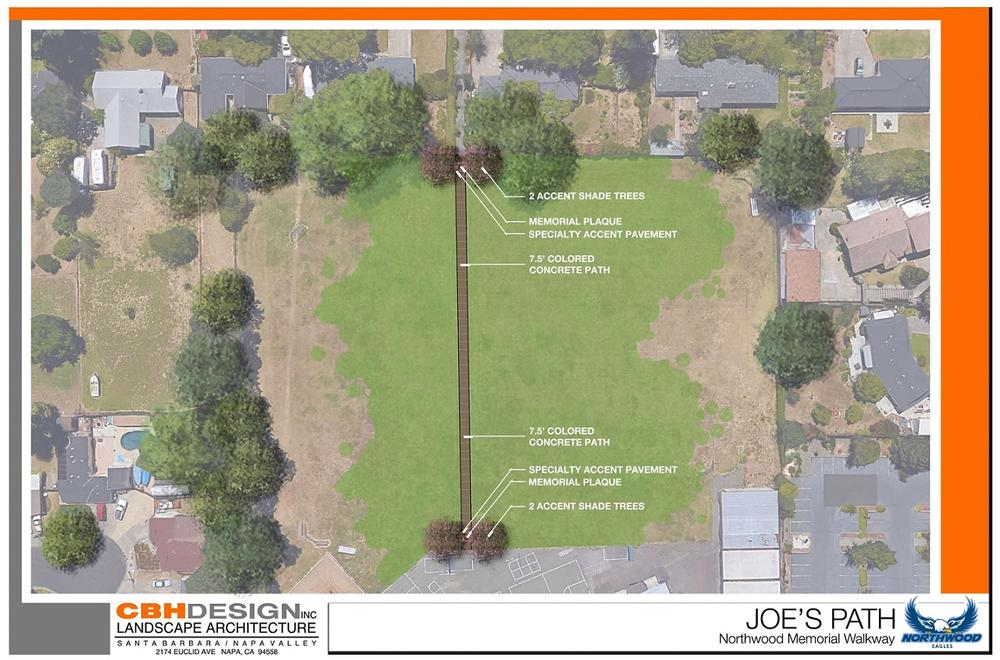 landscape architect design of joe s path, with paved concrete and shade trees leading across the back field onto the school
